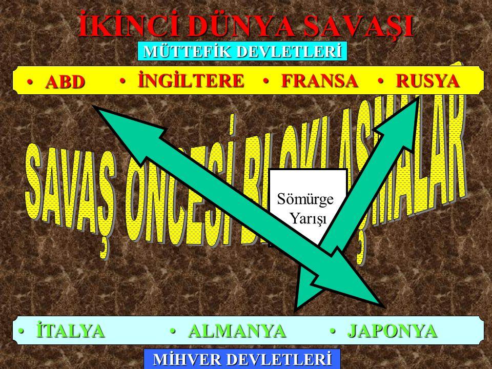 İKİNCİ DÜNYA SAVAŞI İNGİLTEREİNGİLTERE ALMANYAALMANYA İTALYAİTALYA Sömürge Yarışı FRANSAFRANSA RUSYARUSYA JAPONYAJAPONYA MÜTTEFİK DEVLETLERİ MİHVER DE