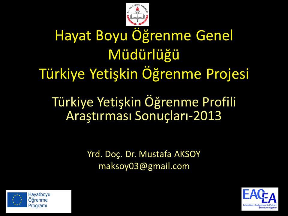 Hayat Boyu Öğrenme Genel Müdürlüğü Türkiye Yetişkin Öğrenme Projesi Türkiye Yetişkin Öğrenme Profili Araştırması Sonuçları-2013 Yrd.