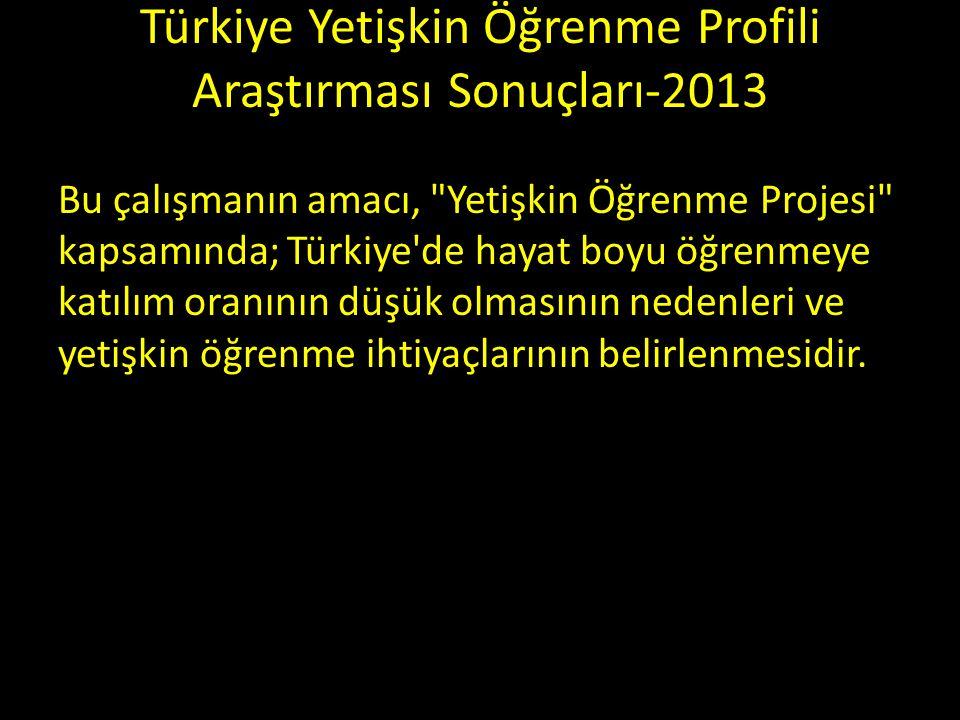 Türkiye Yetişkin Öğrenme Profili Araştırması Sonuçları-2013 Bu çalışmanın amacı, Yetişkin Öğrenme Projesi kapsamında; Türkiye de hayat boyu öğrenmeye katılım oranının düşük olmasının nedenleri ve yetişkin öğrenme ihtiyaçlarının belirlenmesidir.