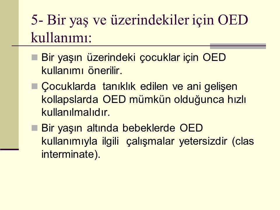 5- Bir yaş ve üzerindekiler için OED kullanımı: Bir yaşın üzerindeki çocuklar için OED kullanımı önerilir. Çocuklarda tanıklık edilen ve ani gelişen k