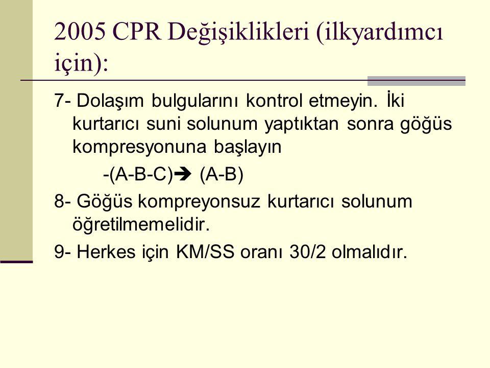 2005 CPR Değişiklikleri (ilkyardımcı için): 7- Dolaşım bulgularını kontrol etmeyin. İki kurtarıcı suni solunum yaptıktan sonra göğüs kompresyonuna baş