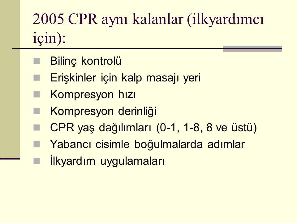 2005 CPR aynı kalanlar (ilkyardımcı için): Bilinç kontrolü Erişkinler için kalp masajı yeri Kompresyon hızı Kompresyon derinliği CPR yaş dağılımları (