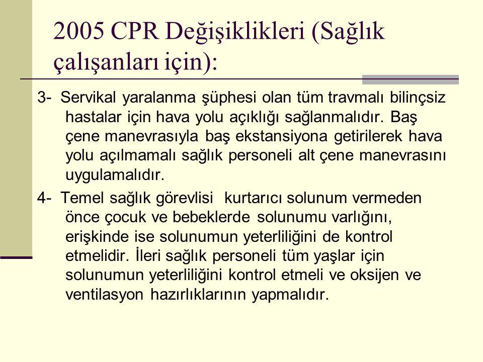 2005 CPR Değişiklikleri (Sağlık çalışanları için): 3- Servikal yaralanma şüphesi olan tüm travmalı bilinçsiz hastalar için hava yolu açıklığı sağlanma
