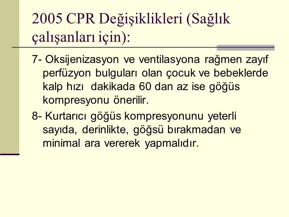 2005 CPR Değişiklikleri (Sağlık çalışanları için): 7- Oksijenizasyon ve ventilasyona rağmen zayıf perfüzyon bulguları olan çocuk ve bebeklerde kalp hı