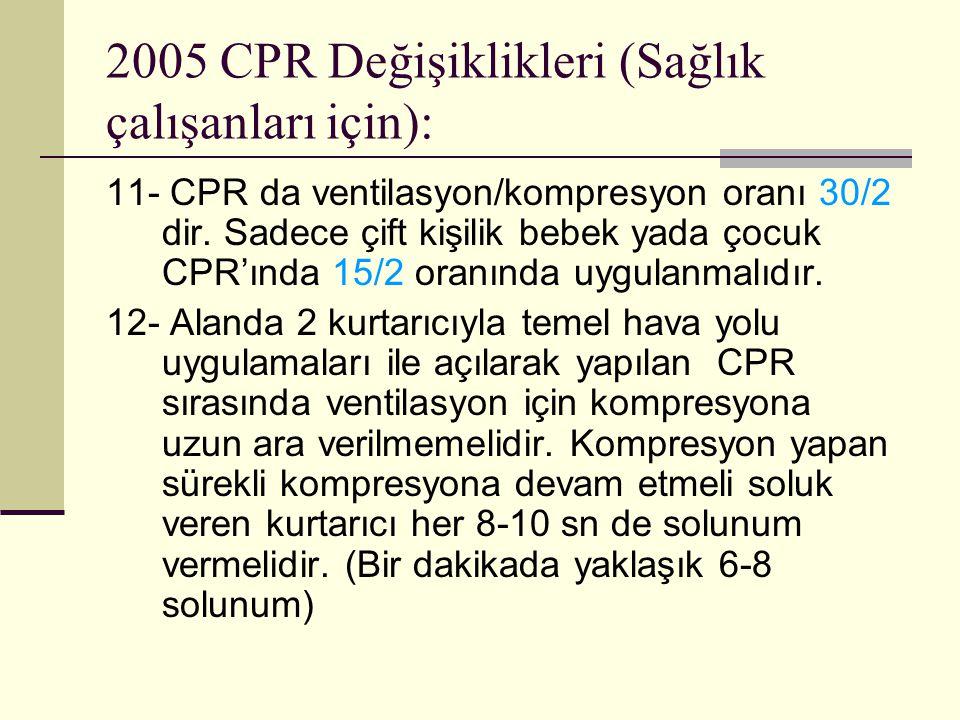2005 CPR Değişiklikleri (Sağlık çalışanları için): 11- CPR da ventilasyon/kompresyon oranı 30/2 dir. Sadece çift kişilik bebek yada çocuk CPR'ında 15/