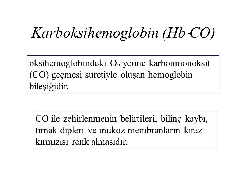 Karboksihemoglobin (Hb  CO) oksihemoglobindeki O 2 yerine karbonmonoksit (CO) geçmesi suretiyle oluşan hemoglobin bileşiğidir. CO ile zehirlenmenin b