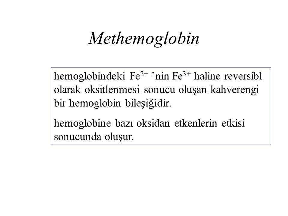 Methemoglobin hemoglobindeki Fe 2+ 'nin Fe 3+ haline reversibl olarak oksitlenmesi sonucu oluşan kahverengi bir hemoglobin bileşiğidir. hemoglobine ba