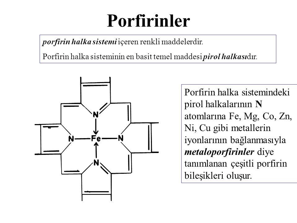 Porfirinler porfirin halka sistemi içeren renkli maddelerdir. Porfirin halka sisteminin en basit temel maddesi pirol halkasıdır. Porfirin halka sistem