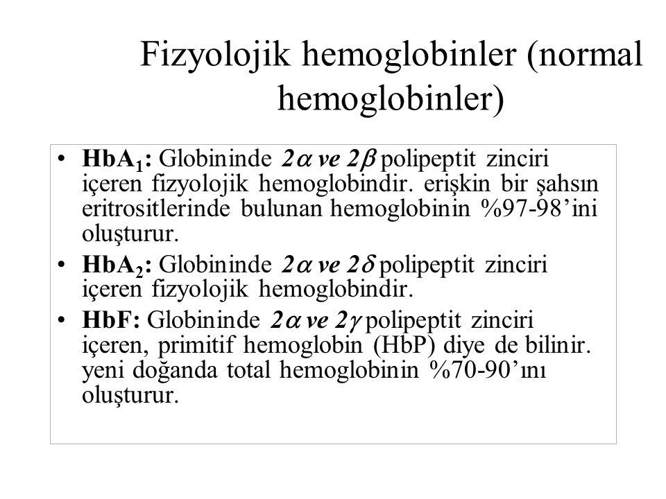 Fizyolojik hemoglobinler (normal hemoglobinler) HbA 1 : Globininde 2  ve 2  polipeptit zinciri içeren fizyolojik hemoglobindir. erişkin bir şahsın e