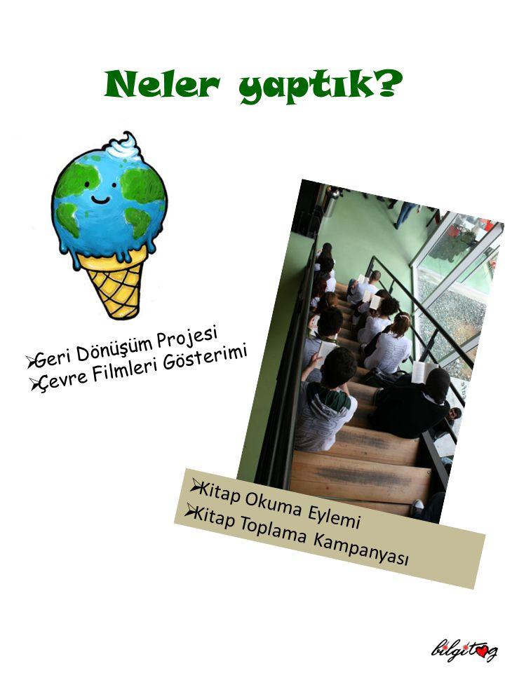  Geri Dönüşüm Projesi  Çevre Filmleri Gösterimi  Kitap Okuma Eylemi  Kitap Toplama Kampanyası Neler yaptık?