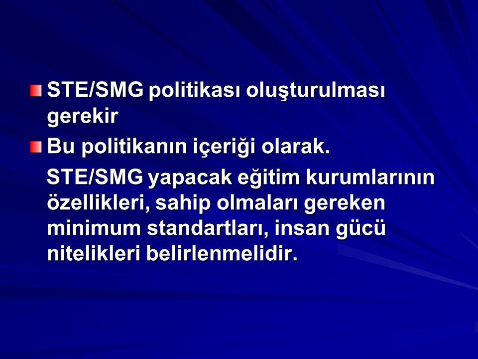 STE/SMG politikası oluşturulması gerekir Bu politikanın içeriği olarak. STE/SMG yapacak eğitim kurumlarının özellikleri, sahip olmaları gereken minimu