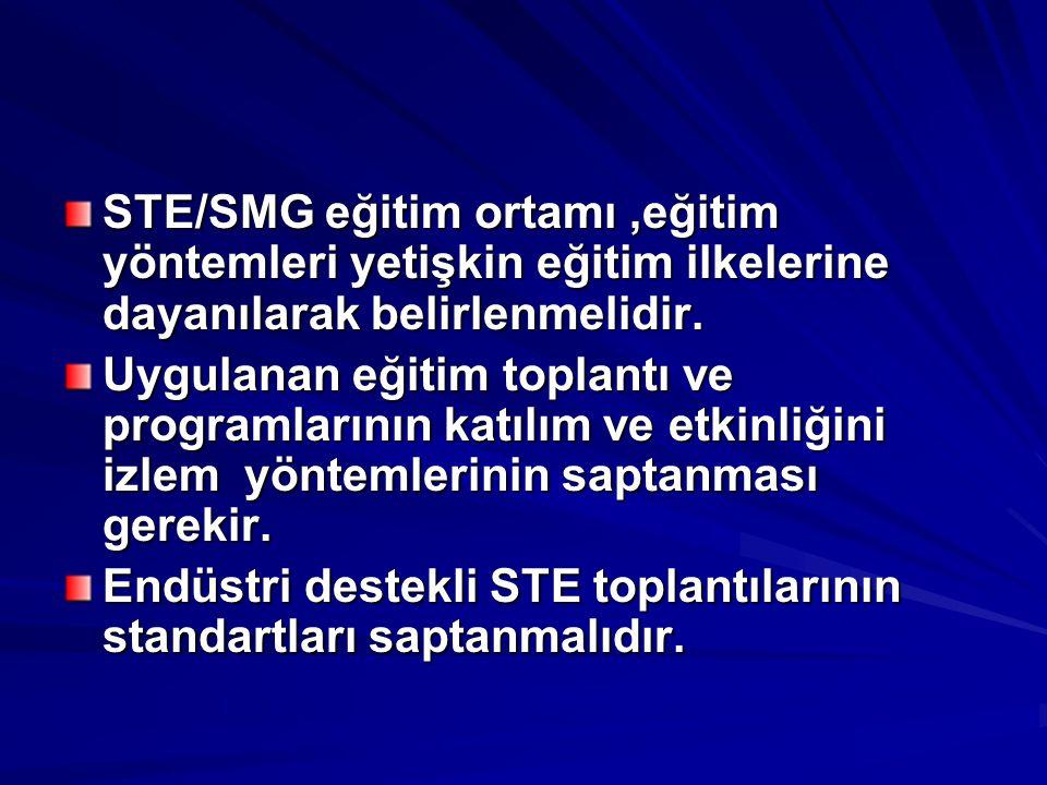 STE/SMG eğitim ortamı,eğitim yöntemleri yetişkin eğitim ilkelerine dayanılarak belirlenmelidir. Uygulanan eğitim toplantı ve programlarının katılım ve