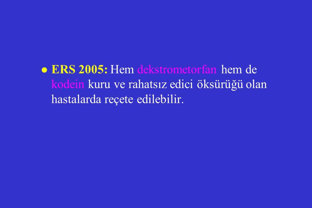 l ERS 2005: Hem dekstrometorfan hem de kodein kuru ve rahatsız edici öksürüğü olan hastalarda reçete edilebilir.