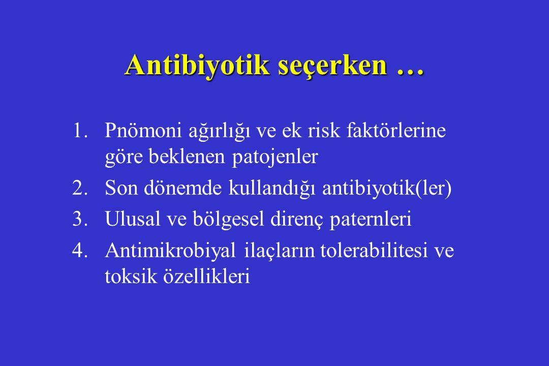Antibiyotik seçerken … 1. Pnömoni ağırlığı ve ek risk faktörlerine göre beklenen patojenler 2. Son dönemde kullandığı antibiyotik(ler) 3. Ulusal ve bö