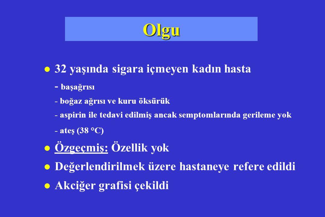 Klinik bulgular l Nabız 135 / dakika l Solunum sayısı 32 /dakika l Kan basıncı 135/75 mm Hg l Ateş 39°C l O 2 satürasyonu % 89 Ağırlaştırıcı faktörler + Yoğun bakım faktörü - Grup 3, klinikte tedavi!