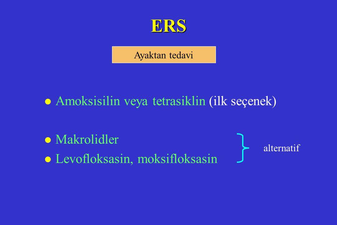 ERS l Amoksisilin veya tetrasiklin (ilk seçenek) l Makrolidler l Levofloksasin, moksifloksasin Ayaktan tedavi alternatif