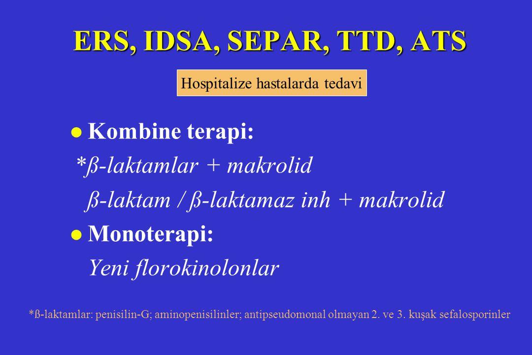 ERS, IDSA, SEPAR, TTD, ATS l Kombine terapi: *ß-laktamlar + makrolid ß-laktam / ß-laktamaz inh + makrolid l Monoterapi: Yeni florokinolonlar *ß-laktam
