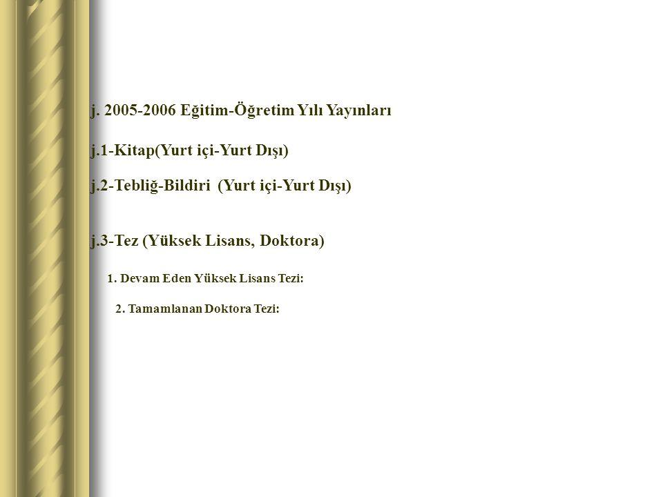 j. 2005-2006 Eğitim-Öğretim Yılı Yayınları j.1-Kitap(Yurt içi-Yurt Dışı) j.2-Tebliğ-Bildiri (Yurt içi-Yurt Dışı) j.3-Tez (Yüksek Lisans, Doktora) 1. D