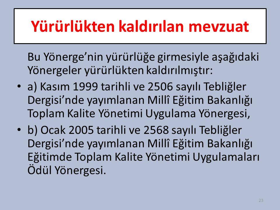 Yürürlükten kaldırılan mevzuat Bu Yönerge'nin yürürlüğe girmesiyle aşağıdaki Yönergeler yürürlükten kaldırılmıştır: a) Kasım 1999 tarihli ve 2506 sayı