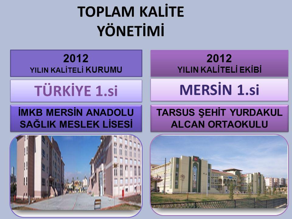 TÜRKİYE 1.si TOPLAM KALİTE YÖNETİMİ 2012 YILIN KALİTELİ KURUMU 2012 YILIN KALİTELİ EKİBİ 2012 YILIN KALİTELİ EKİBİ MERSİN 1.si İMKB MERSİN ANADOLU SAĞ