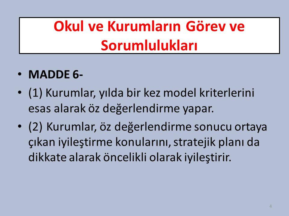 Okul ve Kurumların Görev ve Sorumlulukları MADDE 6- (1) Kurumlar, yılda bir kez model kriterlerini esas alarak öz değerlendirme yapar. (2)Kurumlar, öz