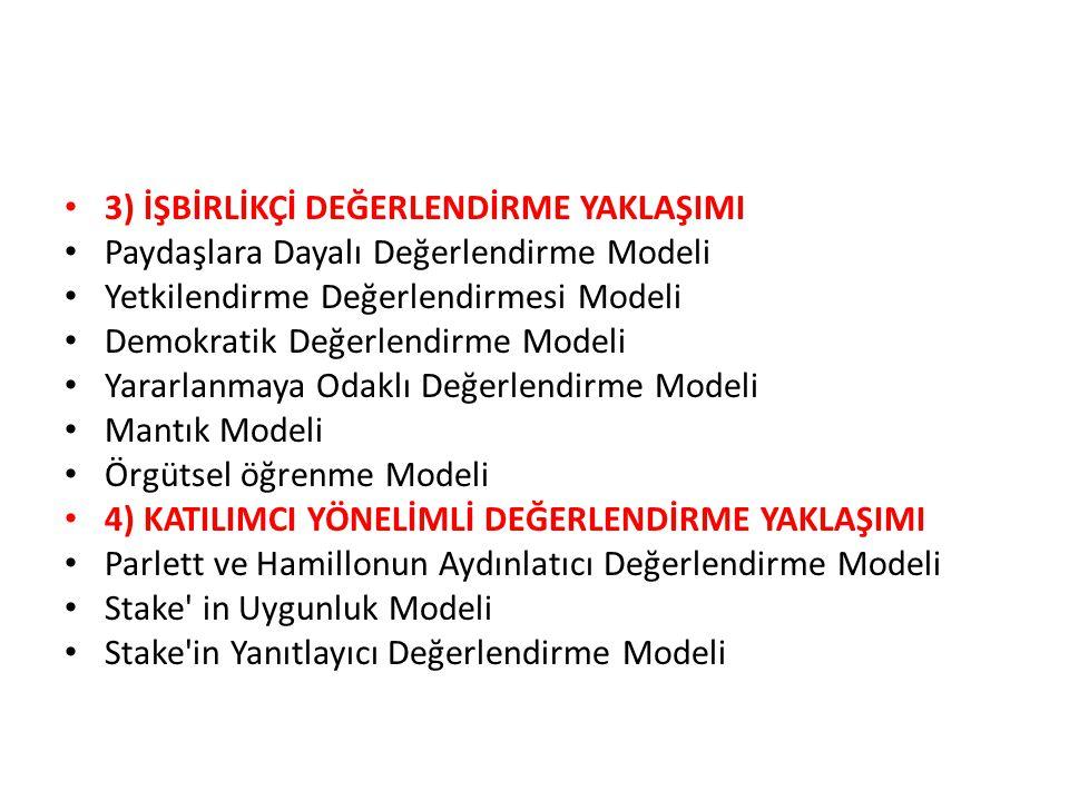 3) İŞBİRLİKÇİ DEĞERLENDİRME YAKLAŞIMI Paydaşlara Dayalı Değerlendirme Modeli Yetkilendirme Değerlendirmesi Modeli Demokratik Değerlendirme Modeli Yararlanmaya Odaklı Değerlendirme Modeli Mantık Modeli Örgütsel öğrenme Modeli 4) KATILIMCI YÖNELİMLİ DEĞERLENDİRME YAKLAŞIMI Parlett ve Hamillonun Aydınlatıcı Değerlendirme Modeli Stake in Uygunluk Modeli Stake in Yanıtlayıcı Değerlendirme Modeli