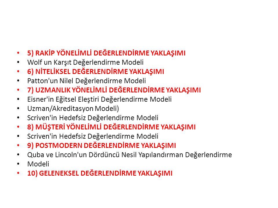 5) RAKİP YÖNELİMLİ DEĞERLENDİRME YAKLAŞIMI Wolf un Karşıt Değerlendirme Modeli 6) NİTELİKSEL DEĞERLENDİRME YAKLAŞIMI Patton un Nilel Değerlendirme Modeli 7) UZMANLIK YÖNELİMLİ DEĞERLENDİRME YAKLAŞIMI Eisner in Eğitsel Eleştiri Değerlendirme Modeli Uzman/Akreditasyon Modeli) Scriven in Hedefsiz Değerlendirme Modeli 8) MÜŞTERİ YÖNELİMLİ DEĞERLENDİRME YAKLAŞIMI Scriven in Hedefsiz Değerlendirme Modeli 9) POSTMODERN DEĞERLENDİRME YAKLAŞIMI Quba ve Lincoln un Dördüncü Nesil Yapılandırman Değerlendirme Modeli 10) GELENEKSEL DEĞERLENDİRME YAKLAŞIMI
