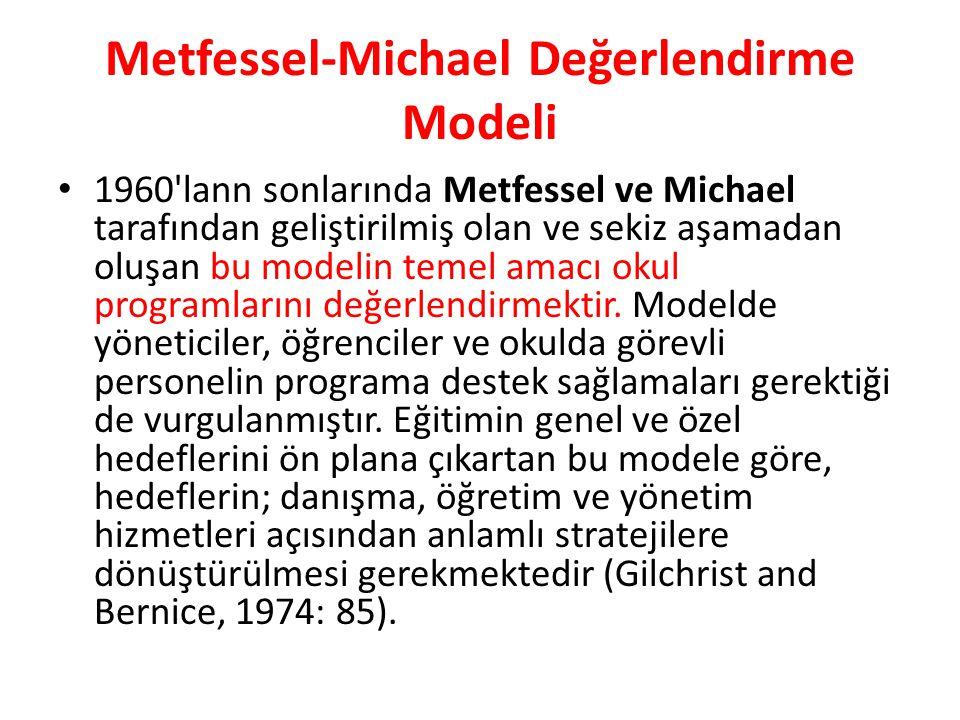 Metfessel-Michael Değerlendirme Modeli 1960 lann sonlarında Metfessel ve Michael tarafından geliştirilmiş olan ve sekiz aşamadan oluşan bu modelin temel amacı okul programlarını değerlendirmektir.