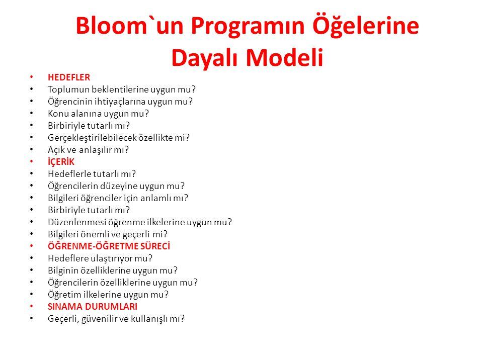 Bloom`un Programın Öğelerine Dayalı Modeli HEDEFLER Toplumun beklentilerine uygun mu.