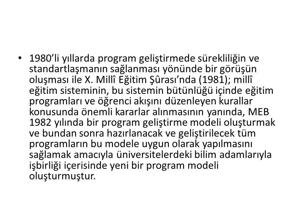 1980'li yıllarda program geliştirmede sürekliliğin ve standartlaşmanın sağlanması yönünde bir görüşün oluşması ile X.