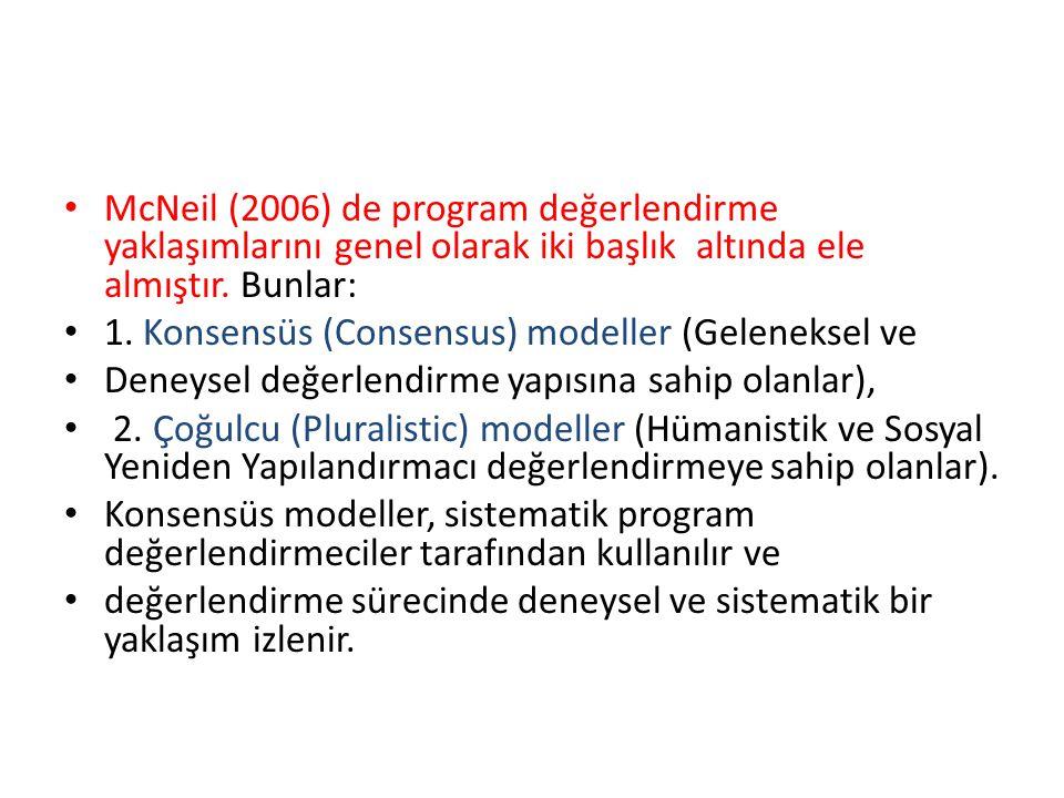 McNeil (2006) de program değerlendirme yaklaşımlarını genel olarak iki başlık altında ele almıştır.