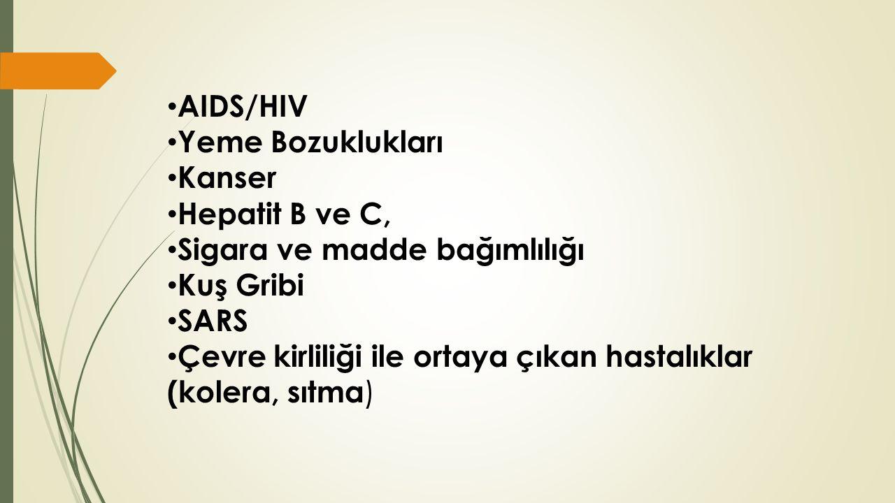 AIDS/HIV Yeme Bozuklukları Kanser Hepatit B ve C, Sigara ve madde bağımlılığı Kuş Gribi SARS Çevre kirliliği ile ortaya çıkan hastalıklar (kolera, sıtma )