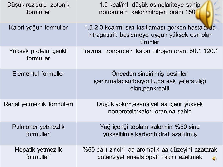 CERRAHİ OKULU Düşük rezidulu izotonik formuller 1.0 kcal/ml düşük osmolariteye sahip nonprotein kalori/nitrojen oranı 150:1 Kalori yoğun formuller1.5-2.0 kcal/ml sıvı kısıtlaması gerken hastalarda intragastrik beslemeye uygun yüksek osmolar ürünler Yüksek protein içerikli formuller Travma nonprotein kalori nitrojen oranı 80:1 120:1 Elemental formullerÖnceden sindirilmiş besinleri içerir.malabsorbsiyonlu,barsak yetersizliği olan,pankreatit Renal yetmezlik formulleriDüşük volum,esansiyel aa içerir yüksek nonprotein:kalori oranına sahip Pulmoner yetmezlik formulleri Yağ içeriği toplam kalorinin %50 sine yükseltilmiş.karbonhidrat azaltılmış Hepatik yetmezlik formulleri %50 dallı zincirli aa aromatik aa düzeyini azatarak potansiyel ensefalopati riskini azaltmak