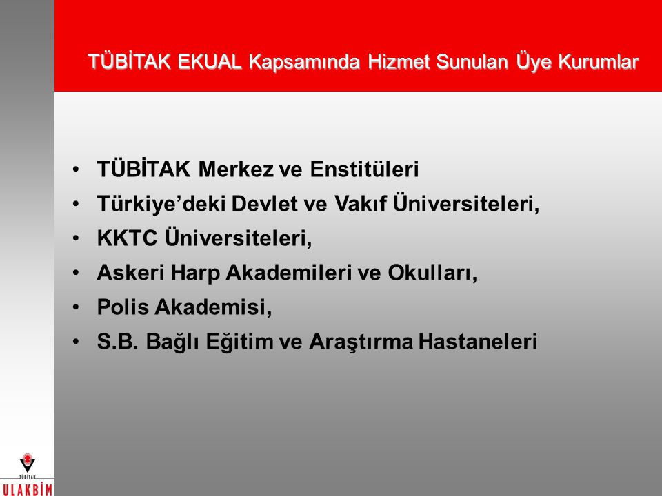 TÜBİTAK Merkez ve Enstitüleri Türkiye'deki Devlet ve Vakıf Üniversiteleri, KKTC Üniversiteleri, Askeri Harp Akademileri ve Okulları, Polis Akademisi, S.B.