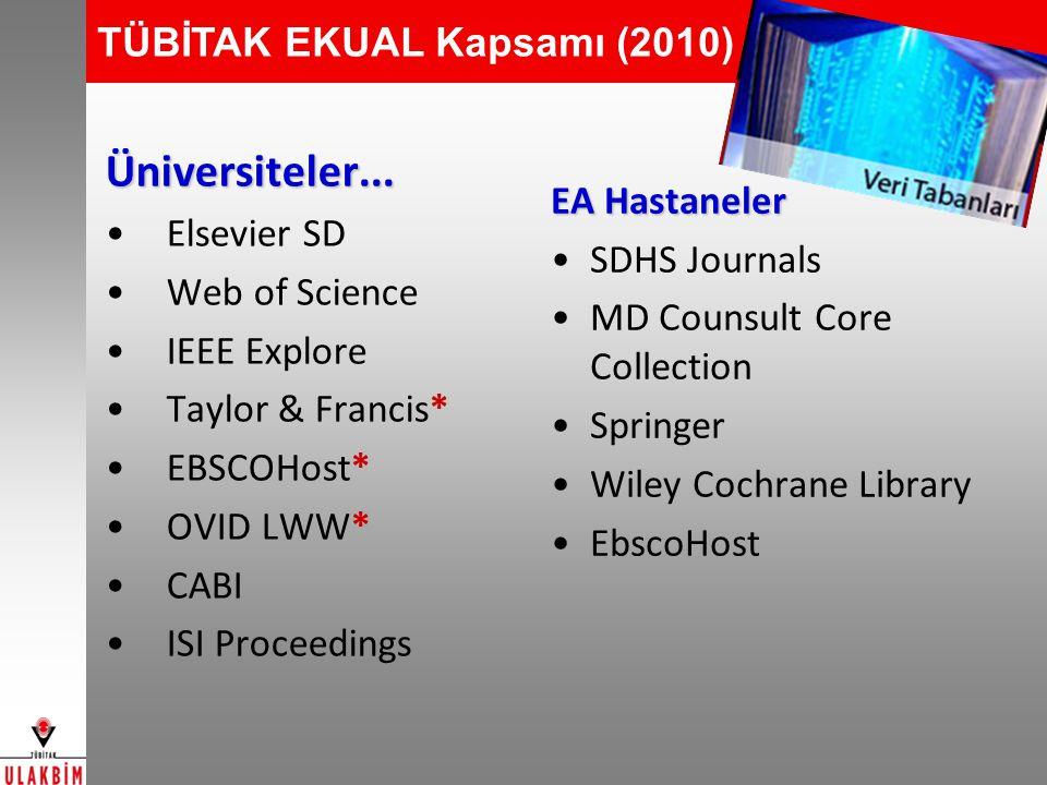 TÜBİTAK EKUAL Kapsamı (2010)Üniversiteler... Elsevier SD Web of Science IEEE Explore Taylor & Francis* EBSCOHost* OVID LWW* CABI ISI Proceedings EA Ha