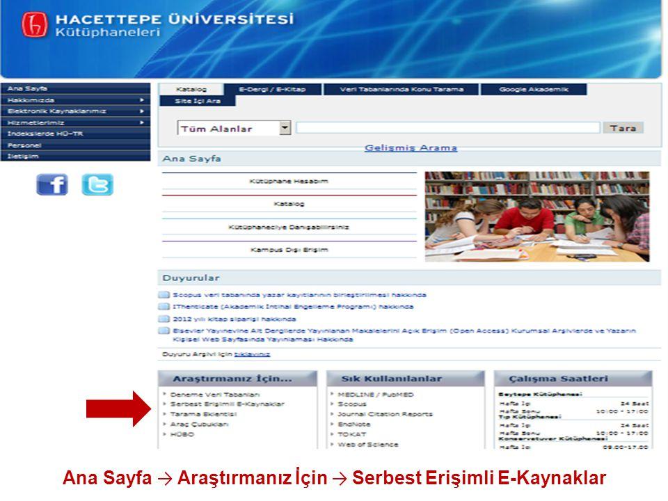 Ana Sayfa → Araştırmanız İçin → Serbest Erişimli E-Kaynaklar