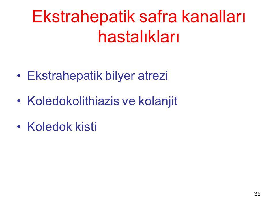 35 Ekstrahepatik safra kanalları hastalıkları Ekstrahepatik bilyer atrezi Koledokolithiazis ve kolanjit Koledok kisti