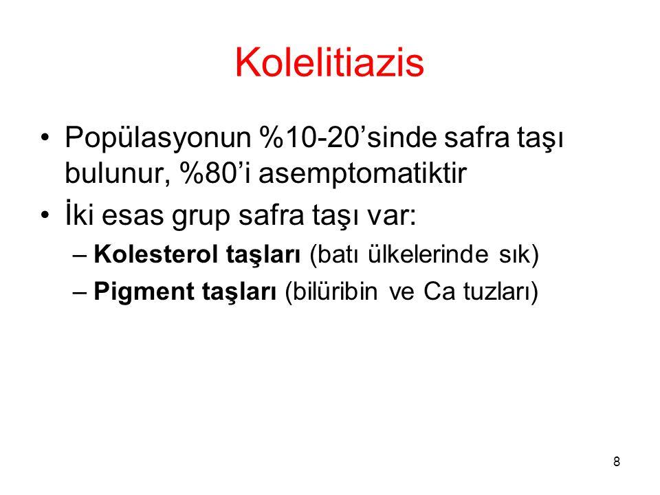 8 Kolelitiazis Popülasyonun %10-20'sinde safra taşı bulunur, %80'i asemptomatiktir İki esas grup safra taşı var: –Kolesterol taşları (batı ülkelerinde