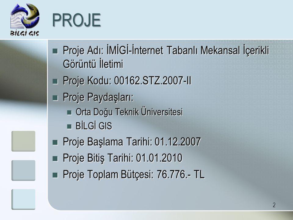 2 PROJE Proje Adı: İMİGİ-İnternet Tabanlı Mekansal İçerikli Görüntü İletimi Proje Adı: İMİGİ-İnternet Tabanlı Mekansal İçerikli Görüntü İletimi Proje