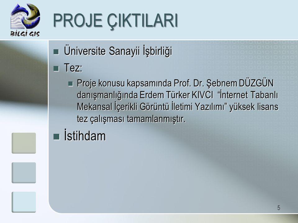 5 PROJE ÇIKTILARI Üniversite Sanayii İşbirliği Üniversite Sanayii İşbirliği Tez: Tez: Proje konusu kapsamında Prof. Dr. Şebnem DÜZGÜN danışmanlığında