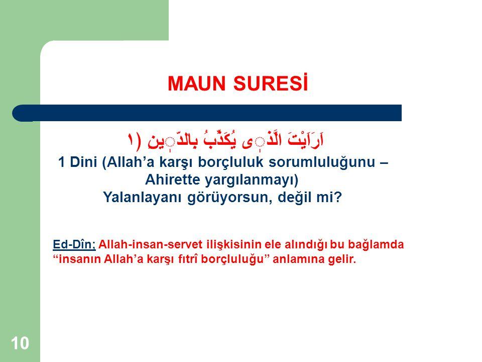 """10 MAUN SURESİ Ed-Dîn; Allah-insan-servet ilişkisinin ele alındığı bu bağlamda """"insanın Allah'a karşı fıtrî borçluluğu"""" anlamına gelir. اَرَاَيْتَ الّ"""