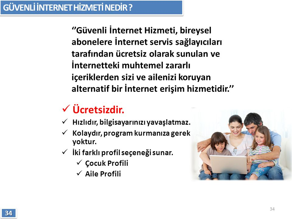 ''Güvenli İnternet Hizmeti, bireysel abonelere İnternet servis sağlayıcıları tarafından ücretsiz olarak sunulan ve İnternetteki muhtemel zararlı içeri