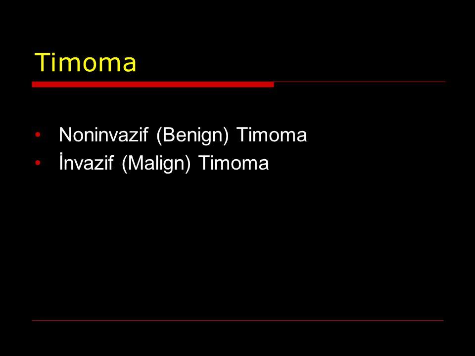 Timoma Noninvazif (Benign) Timoma İnvazif (Malign) Timoma
