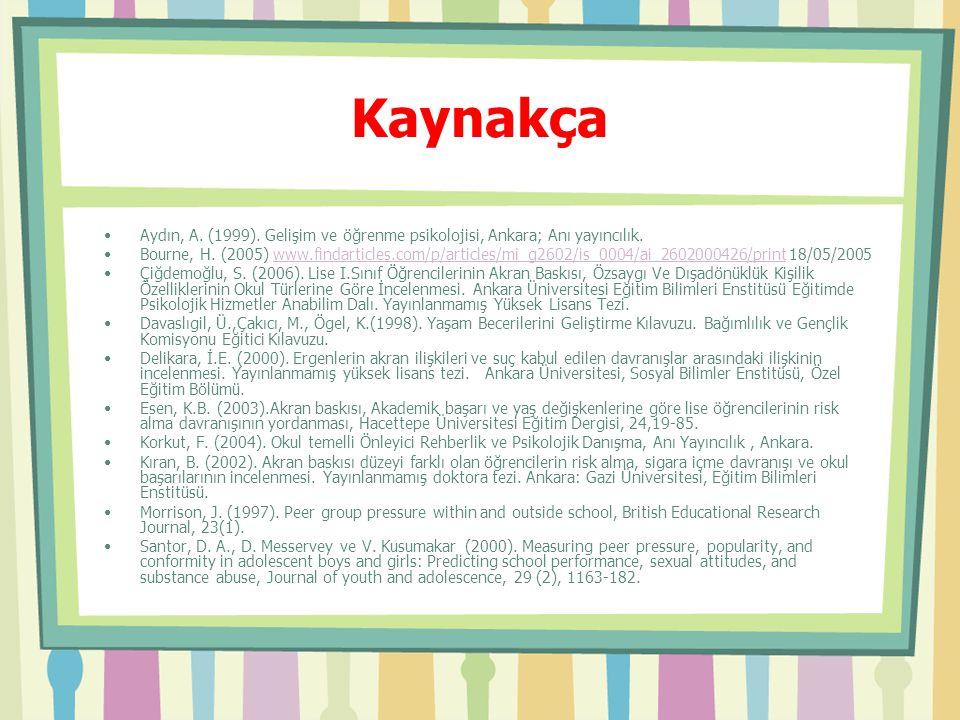 Kaynakça Aydın, A. (1999). Gelişim ve öğrenme psikolojisi, Ankara; Anı yayıncılık. Bourne, H. (2005) www.findarticles.com/p/articles/mi_g2602/is_0004/