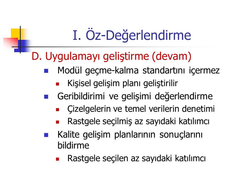 I.Öz-Değerlendirme D.