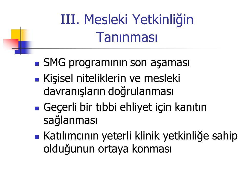 III. Mesleki Yetkinliğin Tanınması SMG programının son aşaması Kişisel niteliklerin ve mesleki davranışların doğrulanması Geçerli bir tıbbi ehliyet iç