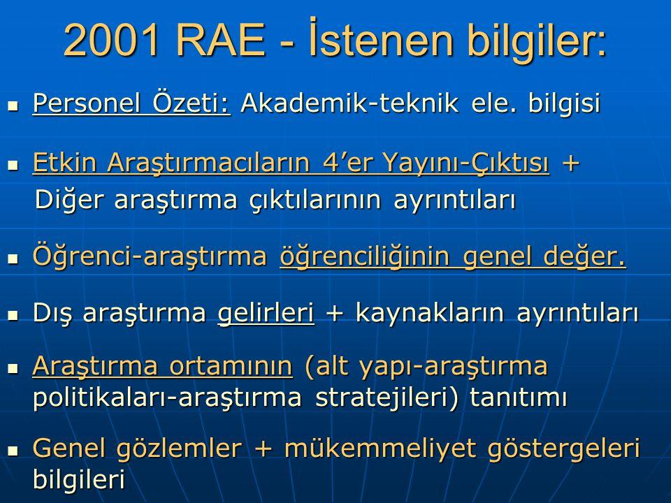 2001 RAE - İstenen bilgiler: Personel Özeti: Akademik-teknik ele.