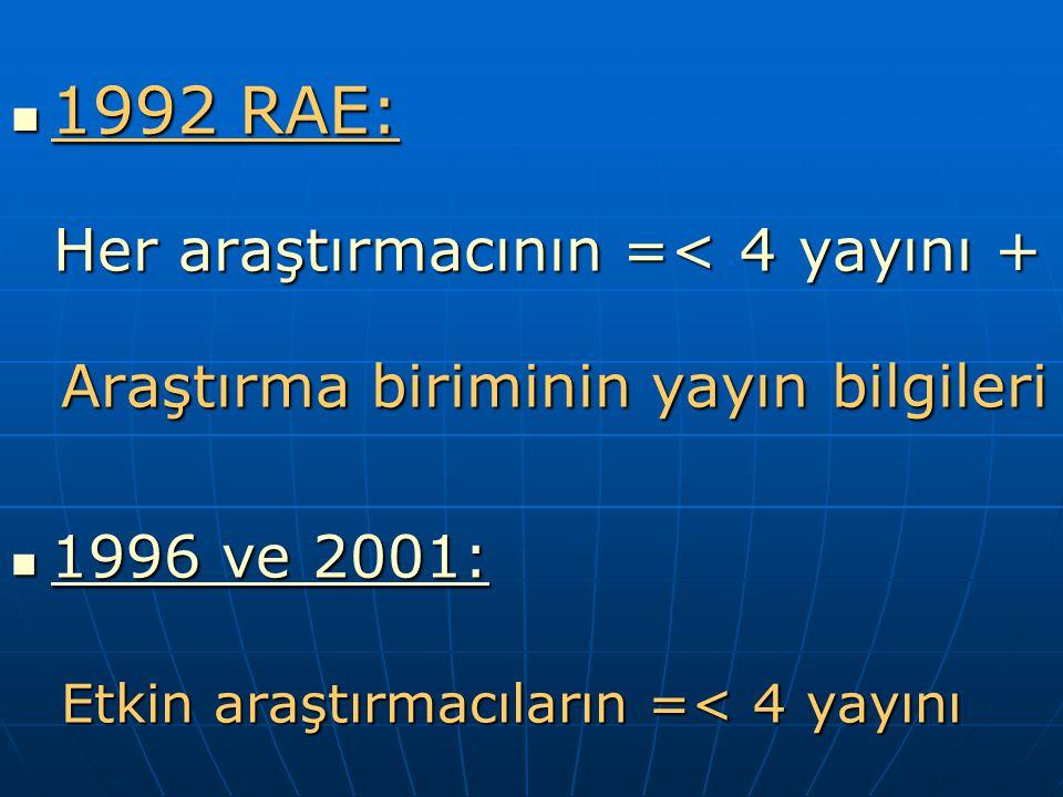 1992 RAE: 1992 RAE: Her araştırmacının =< 4 yayını + Her araştırmacının =< 4 yayını + Araştırma biriminin yayın bilgileri Araştırma biriminin yayın bilgileri 1996 ve 2001: 1996 ve 2001: Etkin araştırmacıların =< 4 yayını Etkin araştırmacıların =< 4 yayını