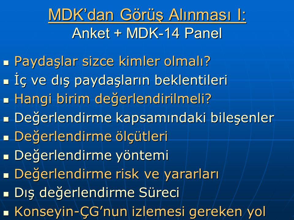 MDK'dan Görüş Alınması I: Anket + MDK-14 Panel Paydaşlar sizce kimler olmalı.