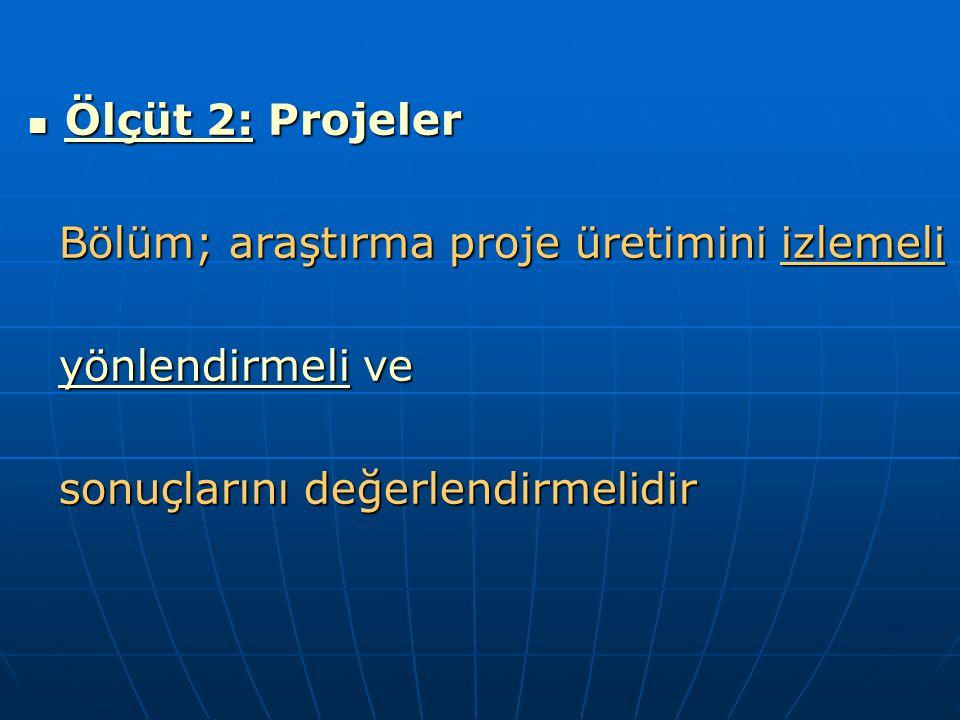 Ölçüt 2: Projeler Ölçüt 2: Projeler Bölüm; araştırma proje üretimini izlemeli Bölüm; araştırma proje üretimini izlemeli yönlendirmeli ve yönlendirmeli ve sonuçlarını değerlendirmelidir sonuçlarını değerlendirmelidir
